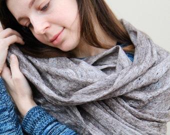 Hand felted grey merino wool shawl wrap rustic woodland style fashion for her - Sweet dreams