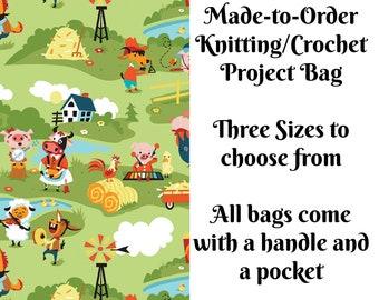Harmony Farm - Green, Knitting Project Bag, Large Project Bag, Drawstring, Zippered, Sock Sack, Yarn Tote, Sock Project