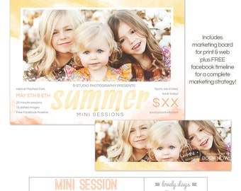 Summer Mini Session Template plus FREE Facebook timeline INSTANT DOWNLOAD