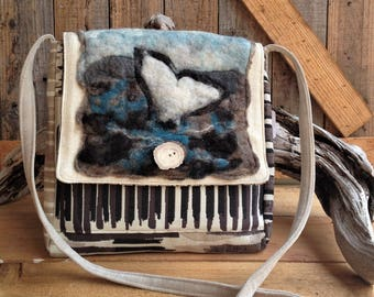 Wool art design, Orca Whale, Needle felted, small messenger bag, cross body tote, whale lover gift, original, handmade, upholstery fabric
