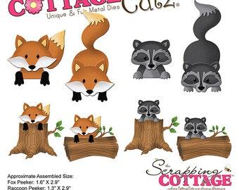 CottageCutz - Forest Peekers Die - Fox & Raccoon - 1.3in To 2.9in