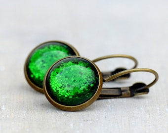 Sparkling green ~ cabochon earrings