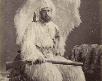 Vintage Photo Man In Feather Suit Holding Rifle Gun Antique Photograph Weird Creepy Old Picture 1900s