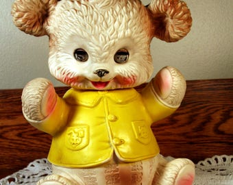 Vintage rubber bear-yellow jacket-eyes close-Mobley Co