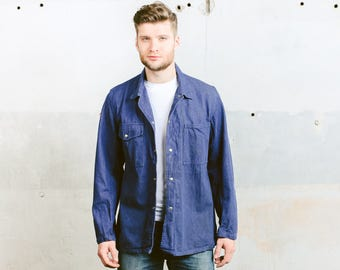 Men's DENIM Work Jacket . Vintage Workwear 70s Faded Blue Chore Coat Jacket Sanfor Blazer Coat Menswear Boyfriend Gift . size Medium M