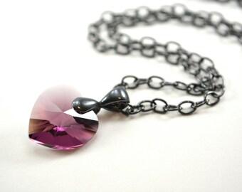 Amethyst Birthstone Necklace February Necklace Purple Crystal Heart Necklace Gunmetal Dark Silver Heart Pendant