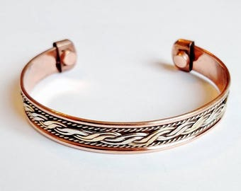 Magnetic Copper Cuff Adjustable Bracelet Three-tone Ornament, Arthritis Natural Cure
