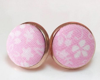 Pink Stud Earrings, Pastel Pink Earrings, Rose Gold Earrings, Pastel Jewelry, Fabric Earrings, Fabric Button Studs, Hypoallergenic Earrings