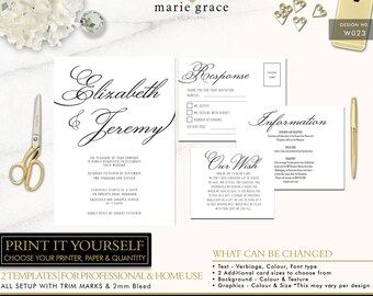 Printable Wedding Invitation - Calligraphy Wedding Invitation Template - Black and White Wedding Invitation Set