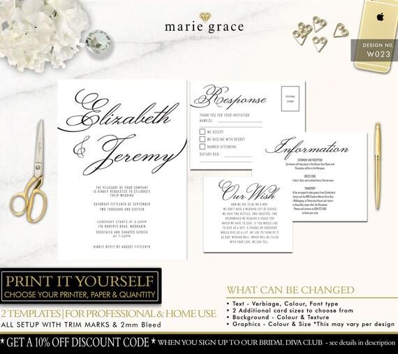 Druckbare Hochzeit Einladung Kalligraphie Hochzeit