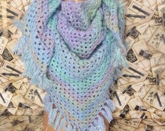 Crochet Shawl Crochet Wrap Triangular Shawl Mermaid Crochet Crochet Accessories Colorful Wrap Colorful Shawl Lace Shawl Gift For Her