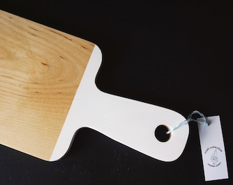 White Handle board - Long Bread Board with white accent