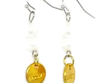 Believe Gold Charm with White Glass Pearl Beaded Earrings