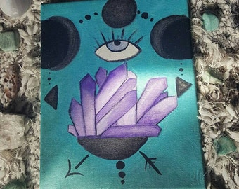 8×10 Amethyst Cluster and Full Moon Phase Crystal Cluster Original canvas painting third eye boho gypsy