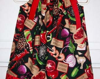 Crawfish Dress Pillowcase Dress with Crawfish Boil Summer Dresses cajun food Louisiana baby dress toddler dress girls dress Red and Black