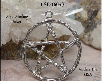 Large Broom Pentacle Pendant, Sterling Silver Besom Pentacle Necklace, Broom Pentagram, Wiccan-Pagan Jewelry