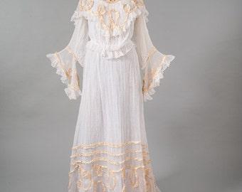 Antique Edwardian Wedding Dress, 1800s Vintage White Gown, Lace Ivory Ribbon Trim, Shabby Bridal Wedding, Women's Clothing, Dresses