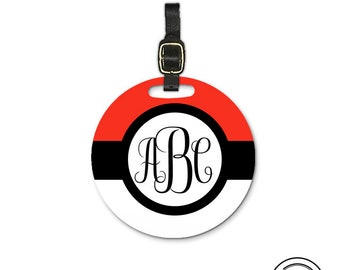 Black and Red Monogram Round Luggage Tag, Single tag with Strap 3.5 Inch Round Custom Text on Back