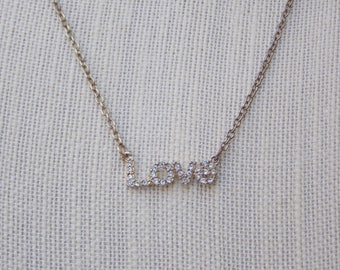 Vintage Love Necklace with Jeweled Pendant