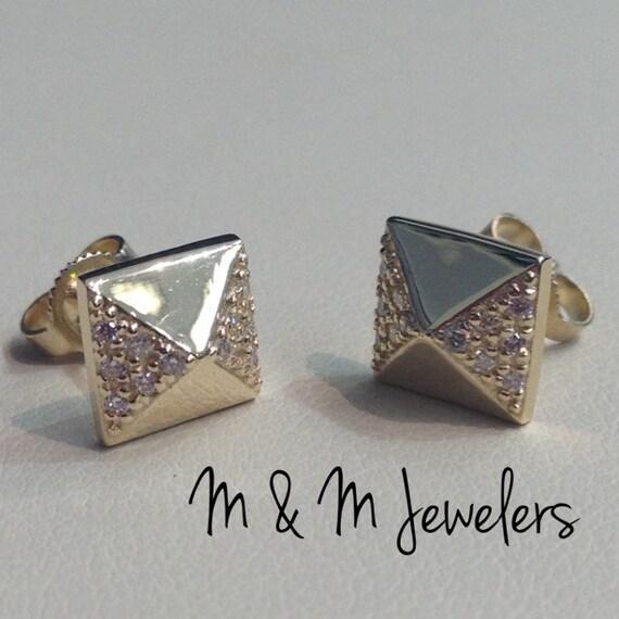 14K Yellow Gold Pyramid Pave Set Diamond Stud Earrings