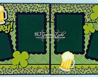2 Premade St Patrick's Day Scrapbook Pages Beer Blarney 12x12 Layout Paper Piecing Handmade 41