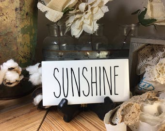 Rae Dunn Inspired SUNSHINE Sign Farmhouse Style Home Decor Rae Dunn Sign Farmhouse Sign Fixer Upper Decor Farm Decor Shabby Chic