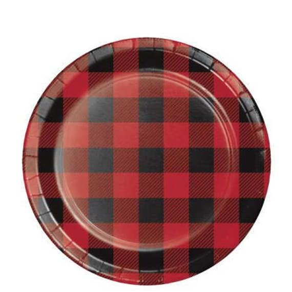 8 CT Plaid Small Paper Plates/ Buffalo Plaid Paper Plates/ Lumberjack Party Plates/ Red and Black Plaid Party  sc 1 st  Etsy Studio & 8 CT Plaid Small Paper Plates/ Buffalo Plaid Paper Plates ...