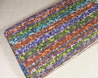 "Vintage Fabric, Stripe, 1 YARD, multi stripe, Fall colors, 36"" wide, cotton, Purple, Green, Orange, retro fabric, SALE"