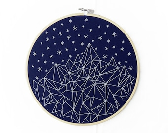 Geometric Mountain Starry Night Embroidery. Custom Hoop Art. Customizable Embroidery Art. Mountain Art. Geometric Art. Gifts Under 100.
