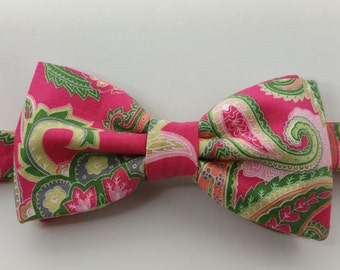 Pink and Light Green Paisely Bow Tie