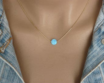Opal coin necklace, Opal necklace, Delicate Opal necklace, Blue opal necklace, Sterling silver necklace, Disc necklace, Opal jewelry
