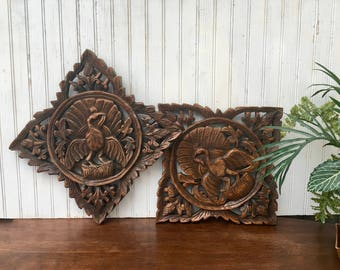 Vintage Hand Carved Wall Plaques with Birds, Bohemian Decor Carvings,