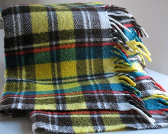 Vintage wool stadium blanket / Pendleton wool throw / retro colorful blanket / aqua yellow red / lodge cabin home decor