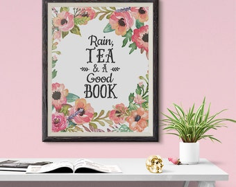 Rain, Tea and a Good Book Orange Flowers 8x10 inch Poster Print - P1094