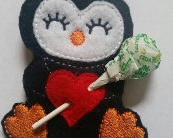 Penguin - Sucker Holder - Valentines Day party - Classroom Party Favor - Birthday Party Favor - Polar Animal - heart- lollipop