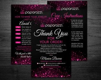 Paparazzi Thank You Cards | Paparazzi Care Instructions | paparazzi thank you | paparazzi | paparazzi care 4x6, Thank You + Care cards 4.2