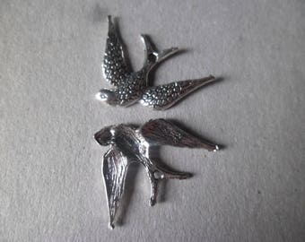 x 5 charm swallow bird pendant silver 24 x 17 mm