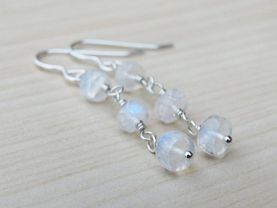 Rainbow Moonstone & Silver Drop Earrings - Sterling Silver