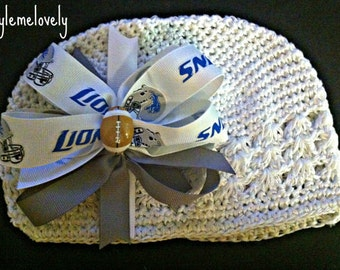 Detroit Lions Baby Girl Boutique Bow Crocheted