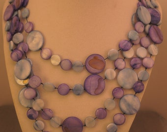 Dyed Shell Double Strand Necklace 1980s