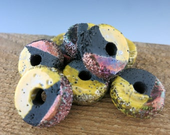 Mykonos Harvest Textured Donut, 25x13mm Ceramic Bead with Copper Oxide finish, Made in Greece, RPT25H