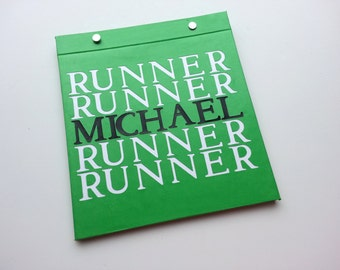 Race Bib Holder - Runner Runner with Your Name - Personalized with name -  Hand-bound Book for Runners - Green Black White