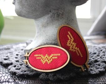 SALE Wonder Woman Mini Cross Stitch Button