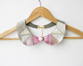 Leather Bib Necklace Metallic Leather Peter Pan Detachable Collar Geometric Shapes Europeanstreetteam  Ready to Ship