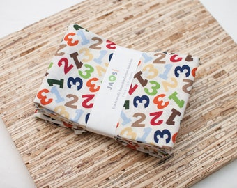 Large Cloth Napkins - Set of 4 - (N4566) - Numbers Modern Reusable Fabric Napkins