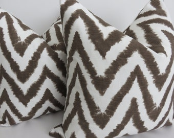 Brown White Zig zag Pillow Covers- Pillow Covers - Decorative Pillows - Brown Chevron Pillows- Zig zag Pillows- Chevron Pillows - Pillows