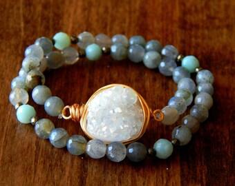 Darling   White aura titanium druzy double stretch bracelet