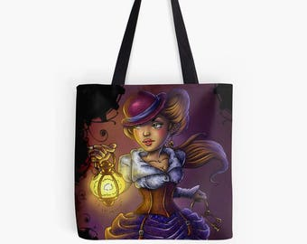 Steampunk lady tote bag steampunk wedding gift neo victorian gears bag steampunk girl dieselpunk steampunk favor steampunk bridesmaid gift