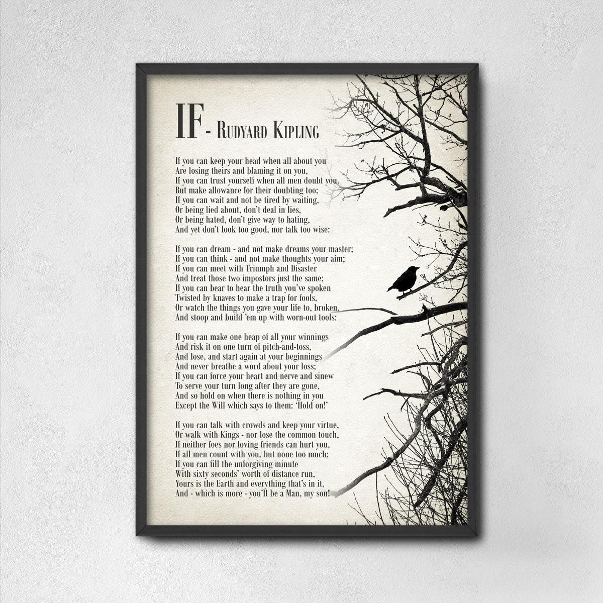 if by rudyard kipling typography print inspirational poster