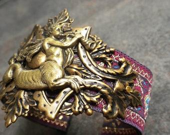 Ready to Ship Mythology Jewelry Ichthyocentaur Brass Cuff Bracelet